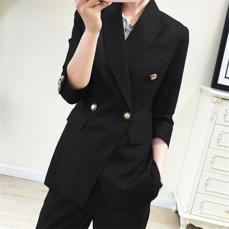 Top Quality New Fashion 2019 Designer Blazer Jacket Women's Double Breasted Metal Buttons Blazer Outer Plus Size 5XL