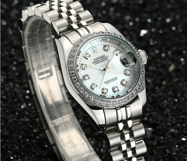 28MM SANGDO Milk- white dial Automatic Self-Wind movement High quality Luxury Women's watches Mechanical watches 027sa