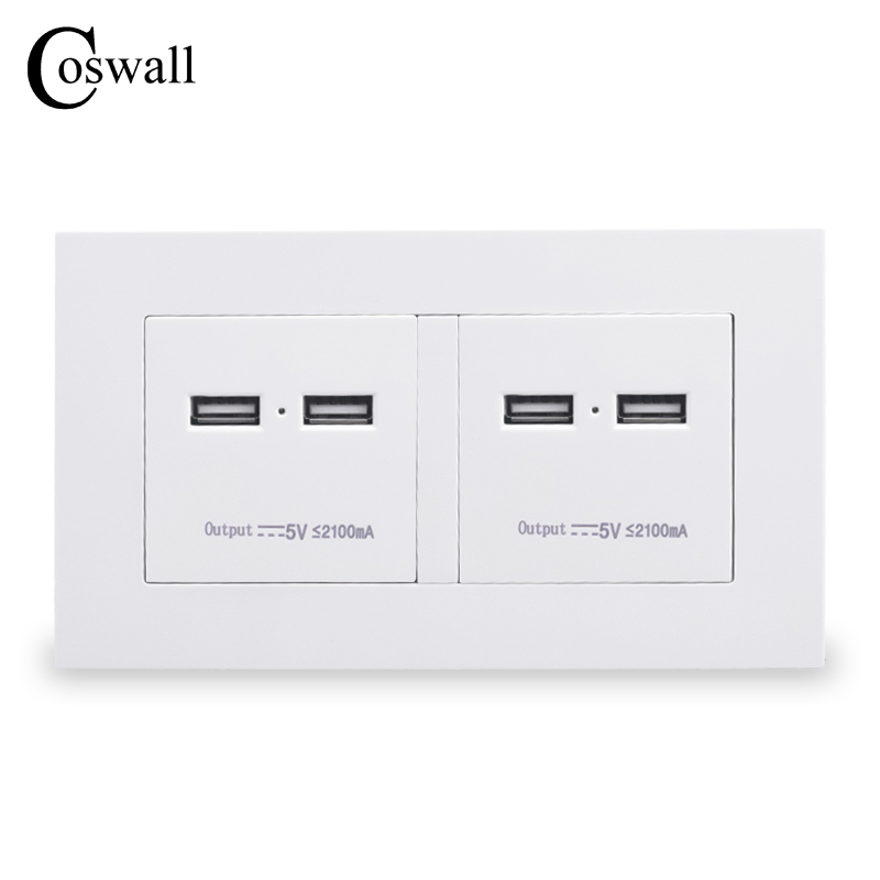 COSWALL 146 Type Wall Socket 4 USB High Power Charge Port For Mobile 5V 4.2A Output Maximum LED Indicator PC Panel coswall 3 usb fast charge port for mobile 5v 6a output in total luxury wall power socket stainless steel brushed silver panel
