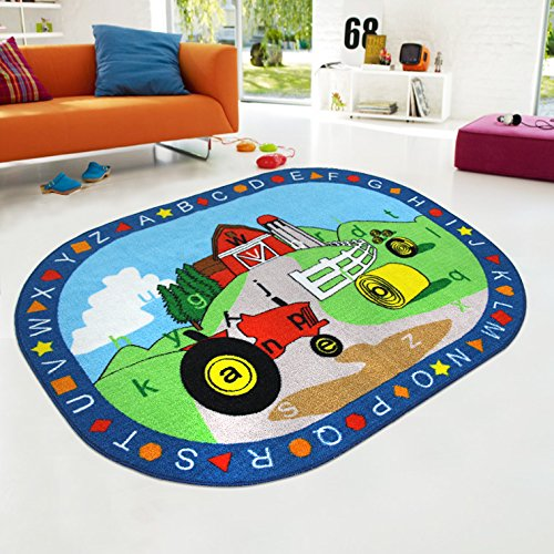 Kids Rug Abc Shapes With Farm Tractor For Playroom Nursery Learning Carpets Play Carpet Country