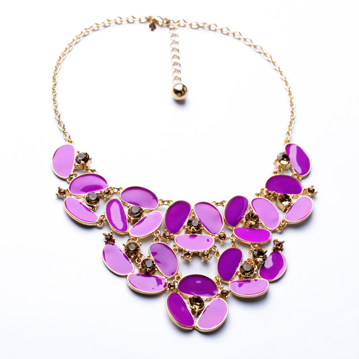 Bulk Price New Design Dress Match Resin Zinc Alloy Top Statement Women Opaque Geometric Sweet Necklace image