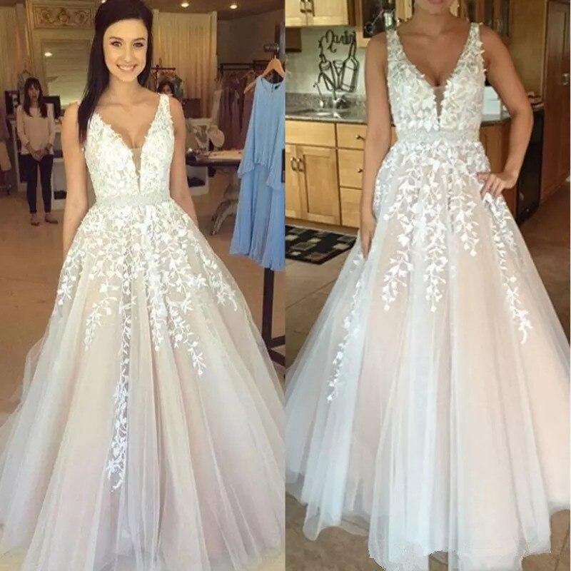 Discount Gothic Lace Wedding Dresses 2019 Plus Size A Line: Gothic Blush Pink V Neck White Lace Full Wedding Dresses