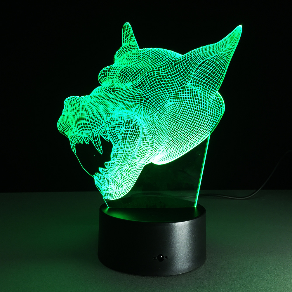 cool 3d wolf head 7colors change gradient night light usb led table desk illusion lamp child