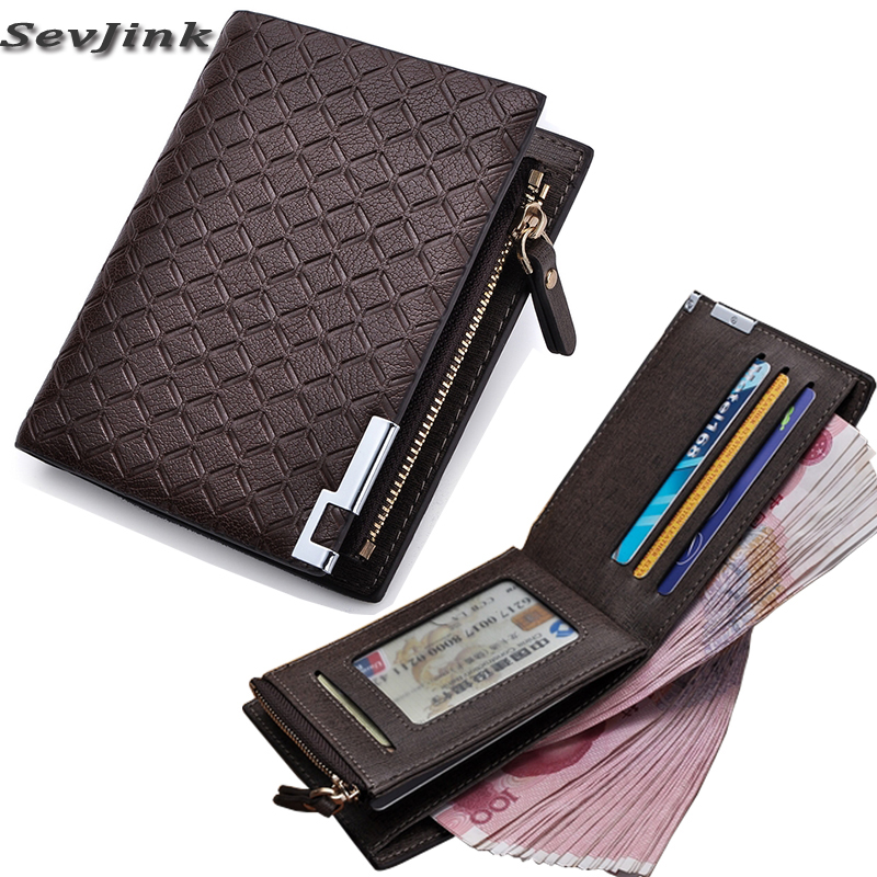 Men Wallet leather with Coin Pocket Zipper Plaid Purse Coin Purse Money Bag Credit Card Holders Mens Zip Wallet Porteemonnaie
