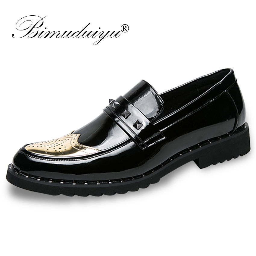 BIMUDUIYU Patent Leather Oxford Shoes For Men Loafers Dress Shoes Formal Shoes Pointed Toe Business Fashion Groom Wedding Shoes bimuduiyu patent leather oxford shoes for men loafers dress shoes formal shoes pointed toe business fashion groom wedding shoes