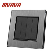 MVAVA 4 Gang 2 Way  16A AC 110-250V Brushed Silver Metal 2 Way Staircase Double Control Button Hotel Lighting EU UK Switch high quality hotel wallpad ac 110 250v silver satin metal uk us eu shaver charge socket