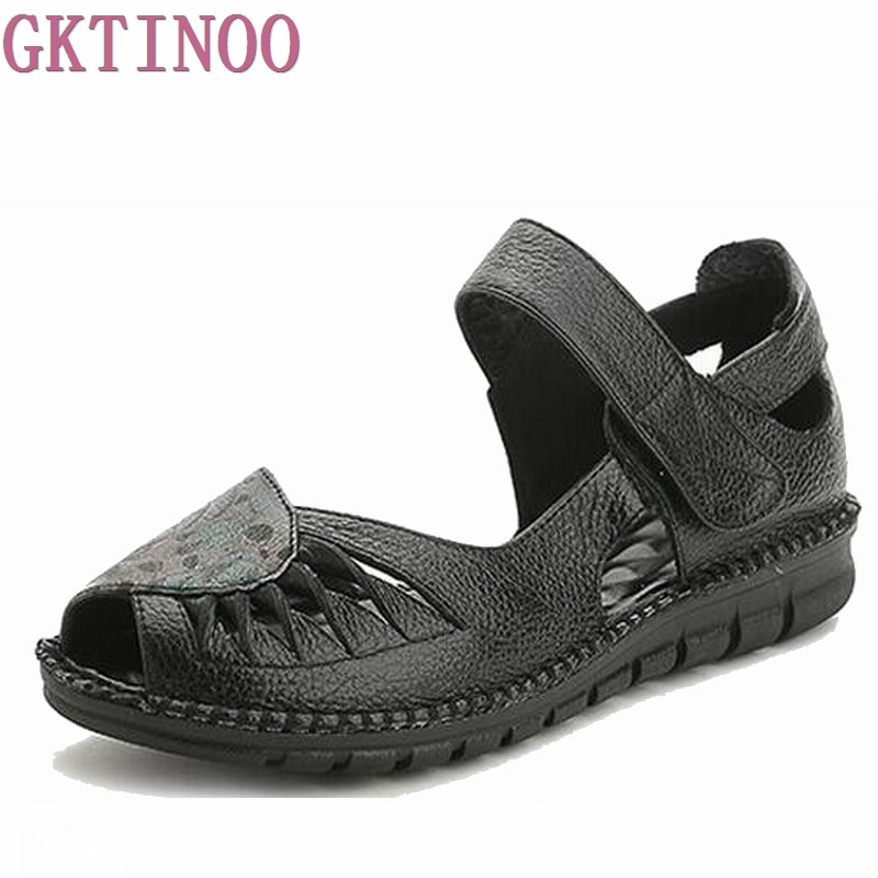 Summer Women Shoes Woman Genuine Leather Flat Sandals Casual Open Toe Sandals Women Sandals mudibear women sandals pu leather flat sandals low wedges summer shoes women open toe platform sandals women casual shoes