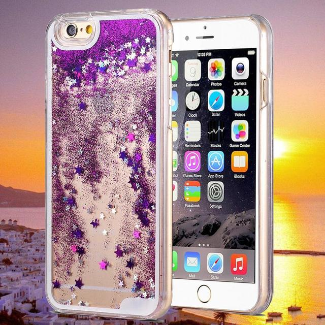 Glitter Quicksand Case For iPhone 6 4.7 inch Hard Phone Back Cover For Apple iPhone 6 Plus 5.5 Gold Star