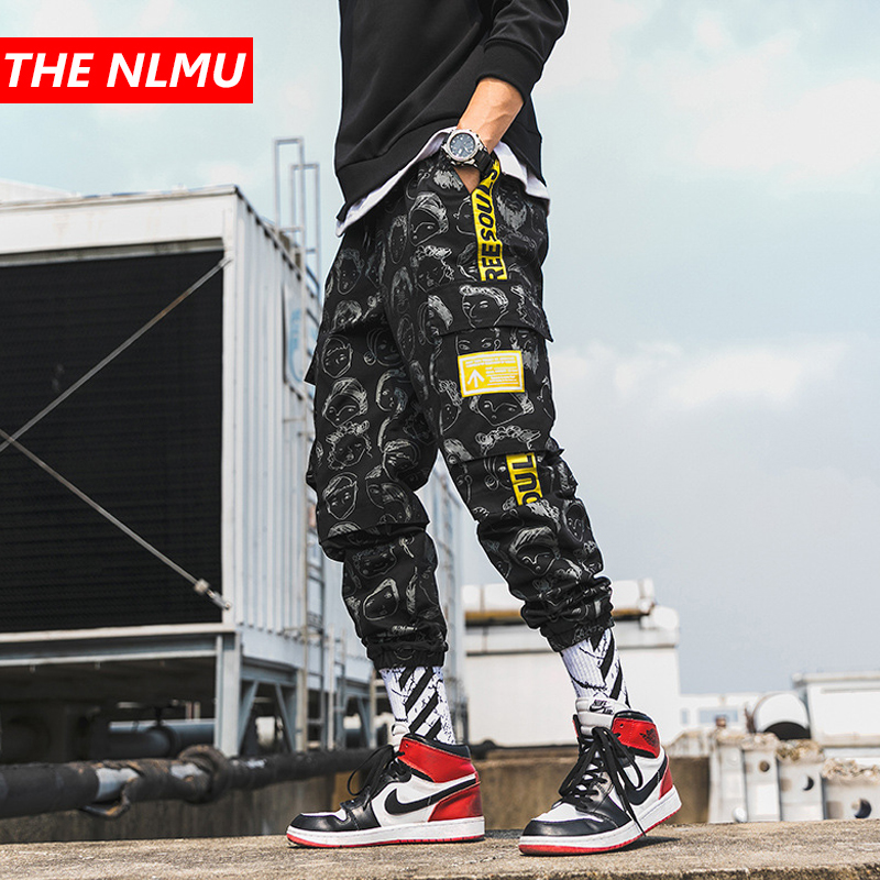 Harajuku Mens Printed Jogger Pant 2019 Hip Hop Cargo Pants Male Fashion Printed Harem Joggers Trousers Streetwear WG219