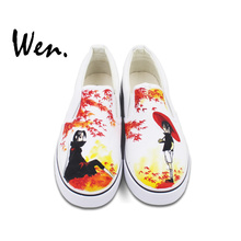 Wen Canvas Unisex Shoes Design Anime Naruto Uchiha Sasuke Custom Hand Painted Shoes Slip On White Breathable Outdoor Sneakers