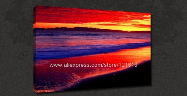 Blue Beach Calm Sunset Canvas Pop Art Many To Choose From Oil Paintings Cheap Impression