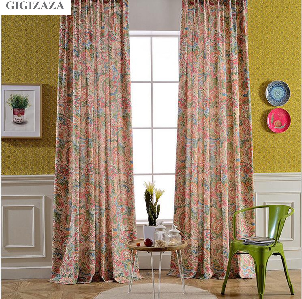 GIGIZAZA Holiday Paisley Print Cotton Blinds Shading Window Curtains High Quality Black Out Red Color Luxurious