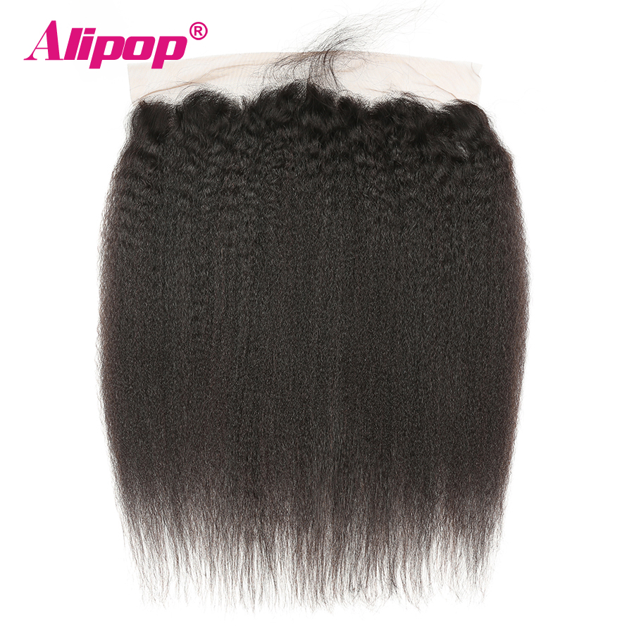ALIPOP Pre Plucked Peruvian Kinky Straight Lace Frontal Closure With Baby Hair Remy Human Hair Natural Hairline Natural Black 1B