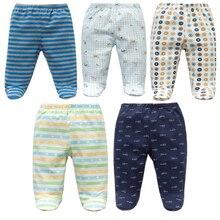 dac6b3d8f96b 5PCS Unisex Cotton Spring Autumn Footed Baby Pants Cartoon Baby Girls Boys  Clothes Newborn Bebe Trousers