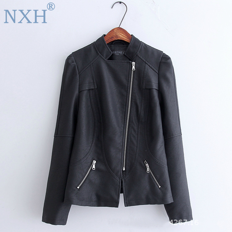 NXH 2019 new spring Womens PU   leather   jacket thin jacket bright outwear faux shearling jacket black faux   leather   jacket british