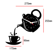 New 3D Acrylic Wall Clock Sticker Coffee Teapot Cup Creative DIY Mirror Wall Clock Modern Design For Living Room Decoration