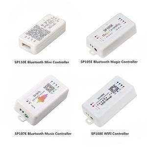 DC5-24V SP110E SP105E SP107E Bluetooth Music Controller SP108E WIFI Controller For WS2811 WS2812B SK6812 APA102 WS2801 LED Strip(China)