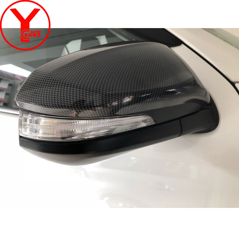 Боковые Крышки зеркала заднего вида для Toyota Fortuner HILUX REVO RAV4 innova 2015 2016 2017 автомобильные аксессуары из углеродного волокна YCSUNZ