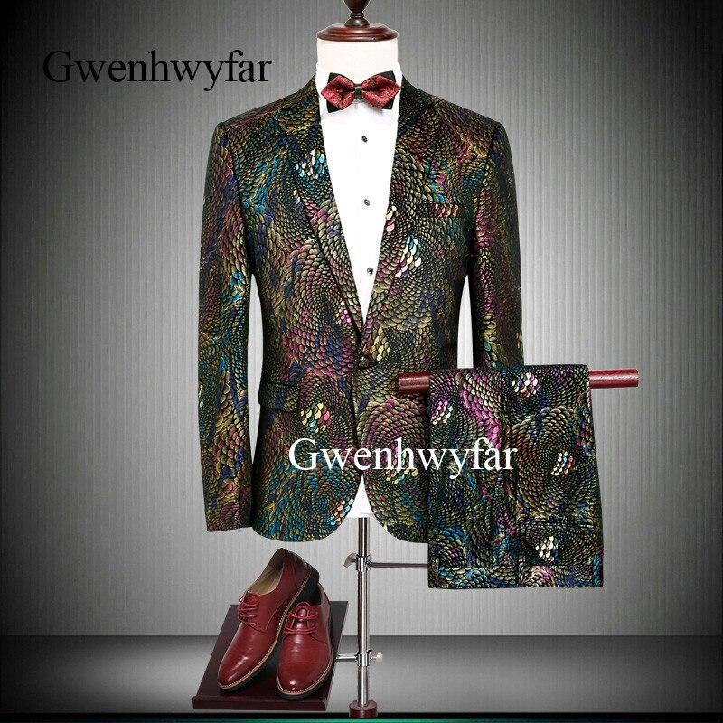 Gwenhwyfar Brand New Men jeden przycisk kolorowe, czerwony, złoty, niebieski, marynarka spodnie DJ piosenkarka wydajności garnitur kurtka moda smokingi w Garnitury od Odzież męska na  Grupa 1