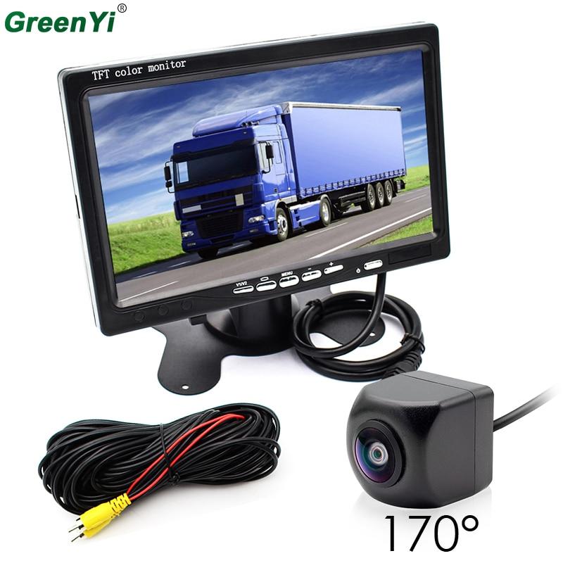 все цены на GreenYi 2In1 Car Parking System 170 Degree Fisheye Lens Car Rear View Camera with HD 7 Inch Truck Bus Monitor, DC 12V~36V