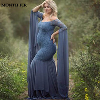 blue Lace Maternity Photography Props Dresses For Pregnant Women Clothes Maternity Dresses For Photo Shoot Pregnancy Dresses