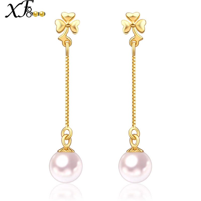 XF800 18k Gold Earrings Natural Akoya Sea Pearl Long Drop Earrings 6-7mm Round au750  Fine Jewlery For Engagement E128
