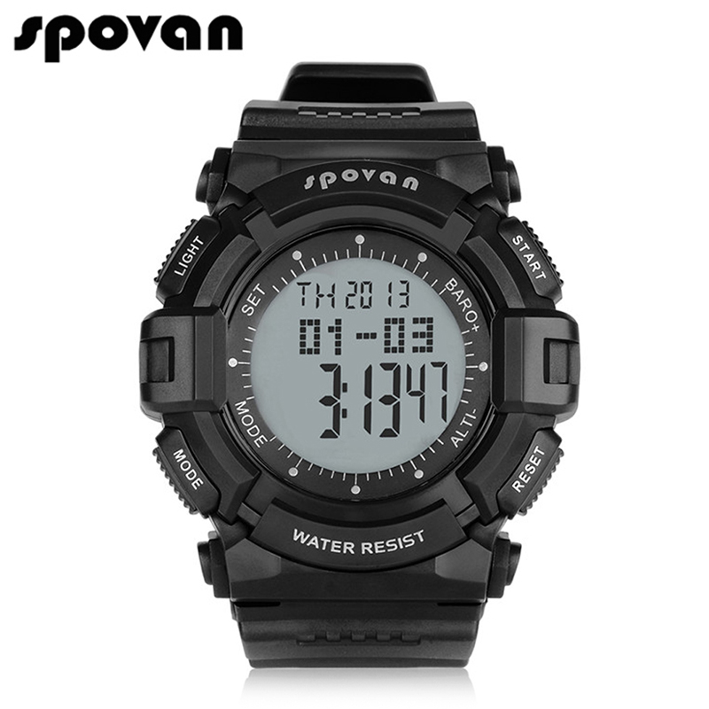 SPOVAN Brand Sports Watches for Men Military Watch Top Quality Clock Waterproof LED Backlight Alarm stopwatch