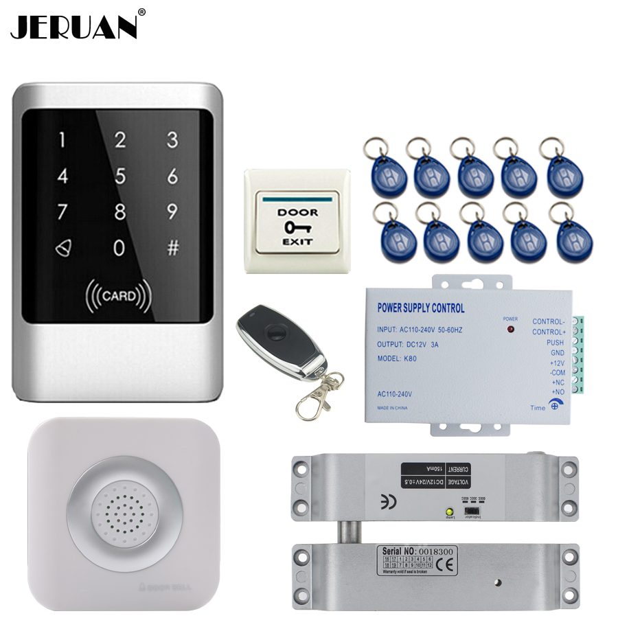 JERUAN Metal RFID Password Access Controller Touch key Waterproof Door control system kit +Doorbell+12V Electric Drop Bolt lock jeruan metal waterproof rfid password touch access controller system kit speaker doorbell remote control in stock free shipping