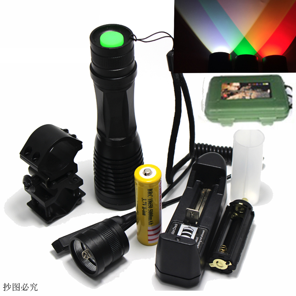 LED Flashlight Hunting Light White Green Red Zoom Spotlight CREE T6 Camping With Gun Clip+Dual mode Remote Pressure Switch powerful led flashlight 1503 cree q5 zoom 3 modes auminum alloy lantern white red green light charger gun mount rat tail