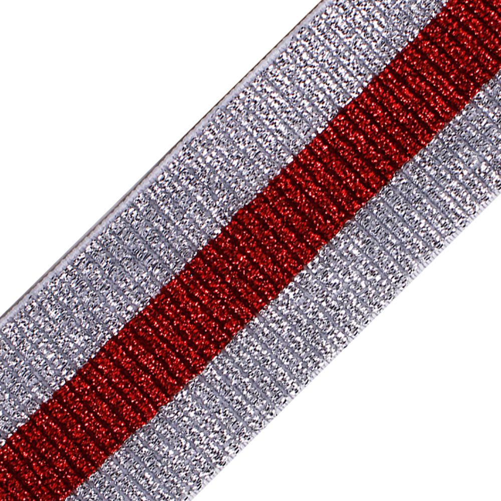 20yards Shiny Silver Red Elastic Stretch Ribbon Tape Band Belt Triming Clothing Decorated DIY Garment Sewing Accessories T2539