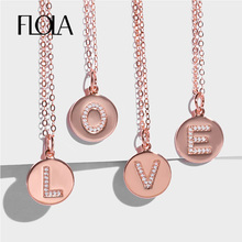 FLOLA DIY 26 Initial Letter Necklaces Pendant For Women Rose Gold Bling Letters Long Charm Name Necklace Zircon Jewelry nkep15