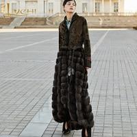 LVCHI Winter 2019 European advanced custom imported sable fight bronze persian sheep fur skirt Patchwork X Long Slim Mink Coats