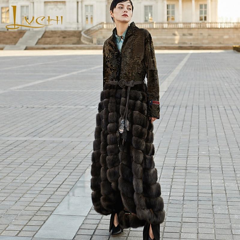 LVCHI Winter 2019 European advanced custom imported sable fight bronze persian sheep fur skirt Patchwork X-Long Slim Mink Coats