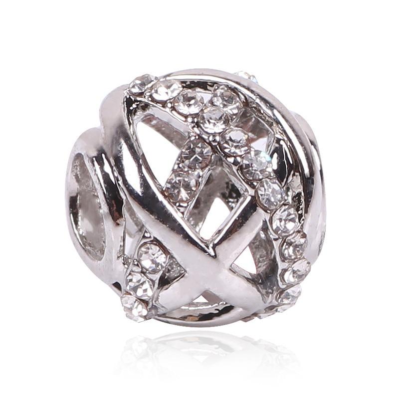 Ranqin NEW Jewelry Hollow Bead Charm European Heart Shop Handbag Bead Fit Pandora Charm Bracelet Women Gift