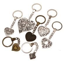 цена на Big Hollow Carved Heart Key Chain Double Sided Heart For Diy Handmade Gifts Charm Heart Pendant