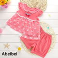 2016 Summer High quality Cute lace Baby Clothing Set Kids Sets Baby bowknot Casual Suits Girls Sets 2pcs/set  free shipping