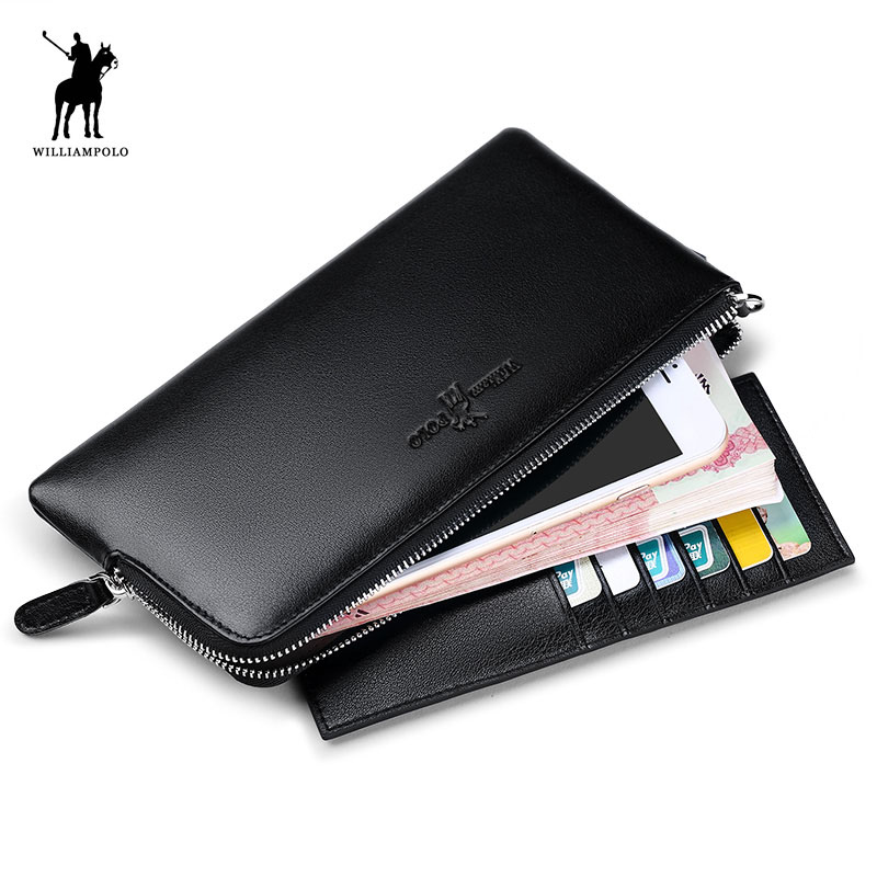 Williampolo Men Real Leather Long Coin Pocker Fashion Zipper Phone Credit Card Business Card Holder Wallet Soft Cowhide Men Gift business card holder leather cards id credit card holder book case keeper organizer wallet men wizytownik