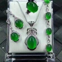 hot deal buy  925 silver fine jewelry women jewelry certificate natural jade medullary ring pendant earrings bracelet jewelry sets