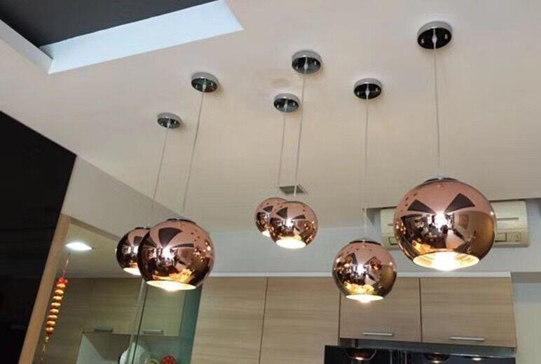 Modern Pendant Light Copper/sliver/gold/red Glass Ball Lamp For Shop Decoration