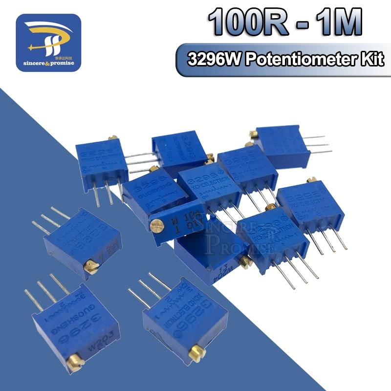 10 pièces 3296 potentiomètre Kit haute précision 3296W résistance Variable 100R -1M 200R 500R 1k 2k 5K 10K 20K 50K 100K 200k 500k