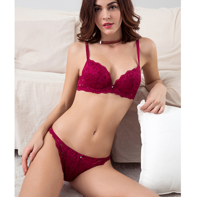 02b78bf5530e Pretty Mary NEW Women Push Up Lace Bra and Briefs Lace-trim Everyday Bra  Sets No-slip Sides Plunge Demi Bra Sexy Lingerie