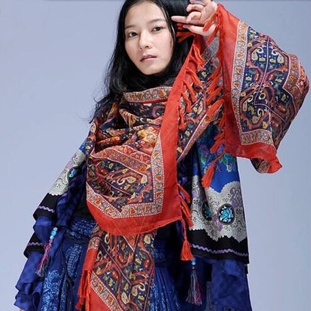 1afbc934e4f Nepal Ethnic Style Brand Blanket Neck Tassel Cotton Scarf Shawl for Women  Foulard Fashion Bandana and Pashmina Echarpe muffler