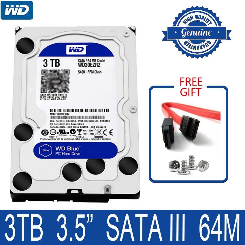 WD BLUE 3TB Internal Hard Drive Disk 3 5 5400 RPM 64M Cache SATA III 6Gb