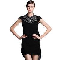 Statement Silver Tone Metal Beaded Embellished Cap Sleeve Black Chiffon Layered Asymmetrical Dress Plus Size S