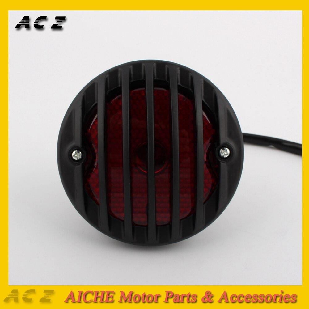 ACZ Motorcycle LED Rear Round Stop Vintage License Plate Tail Light Brake Light Lamp For Harley Bobber Chopper Custom