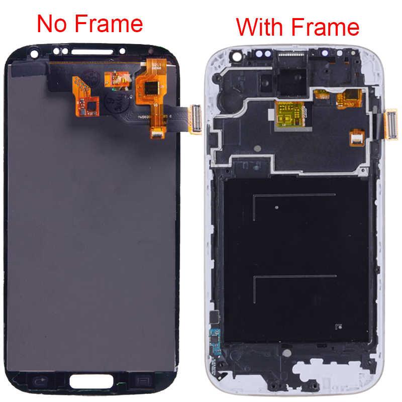 سوبر Amoled شاشات lcd لسامسونج غالاكسي S4 i9500 i9505 شاشة الكريستال السائل مع الإطار مجموعة المحولات الرقمية لشاشة تعمل بلمس سطوع قابل للتعديل