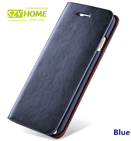 SZYHOME Phone Cases For iPhone 4s 5 5s SE 6 6s 7 Plus Luxury Retro Real Genuine Leather Wallet Flip Phone Cover Case Capa Coque