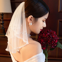 Beaded Short Veil Bridal Wedding Hair Accessories Shoulder Length Beading Veils Princess Bride Headdress Ornament Vail Handmade