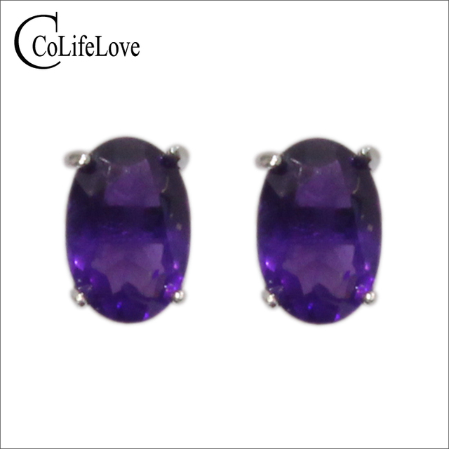 Simple 925 silver stud earrings with amethyst 100% natural VVS amethyst earring classic sterling silver amethyst party jewelry