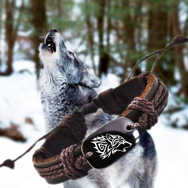 Roar Wolf Animal Backer Woven Rope Leather Unisex Bracelet Yak Bone Carved,Fashion bracelet For Women Man drop shipping